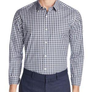 Theory Navy Mens Button Down Checkered Shirt, L